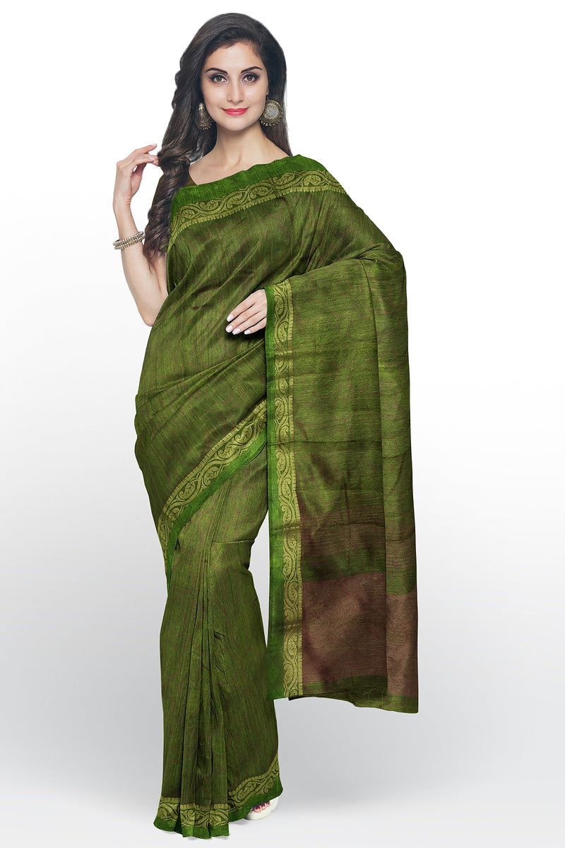 Semi raw silk saree mehendi green with floral embose pattern and mango zari border