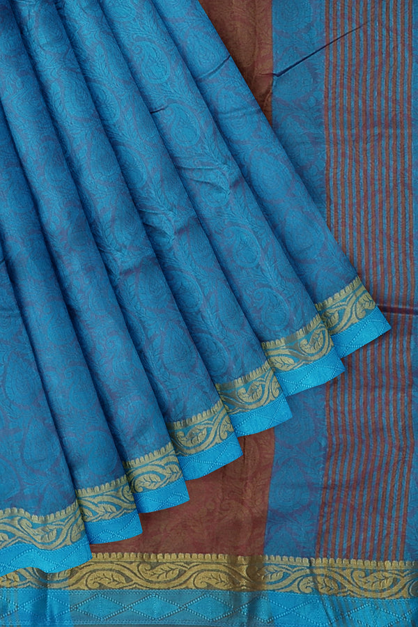 Semi raw silk saree copper sulphate blue with floral embose pattern and mango zari border for Rs.Rs. 1100.00 | Semi Raw Silk Sarees by Prashanti Sarees