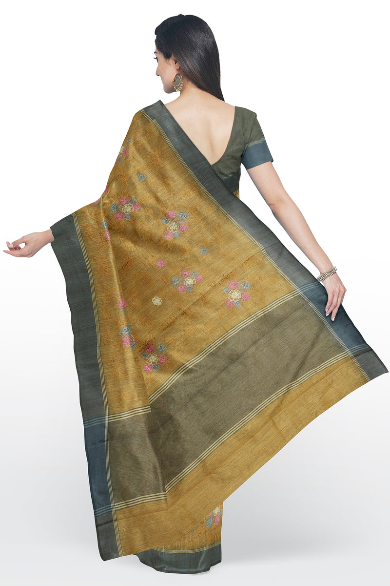 Linen Saree mild yellow with all over floral embroidery and ash border for Rs.Rs. 1990.00 | Linen Sarees by Prashanti Sarees