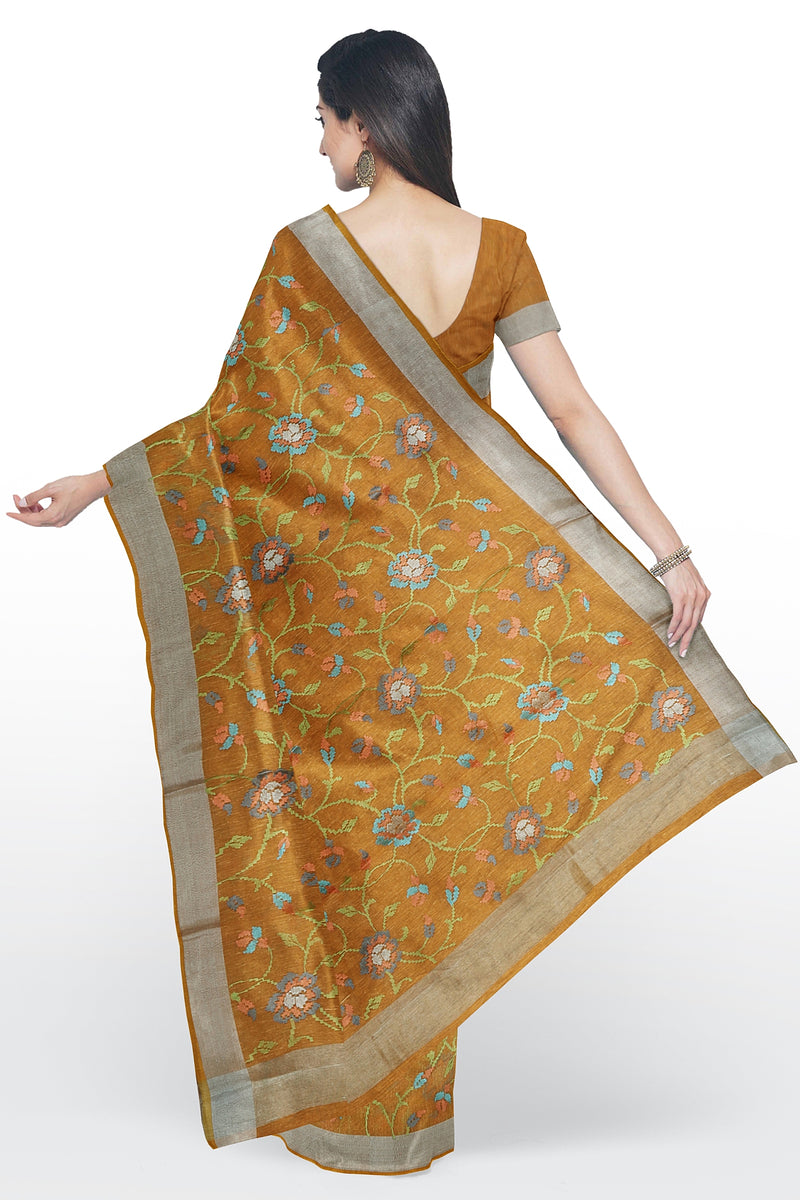 Linen Saree orange with floral computerized embroidery and silver zari border