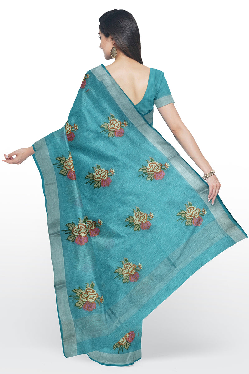 Linen Saree sky blue with floral embroidery and silver zari border