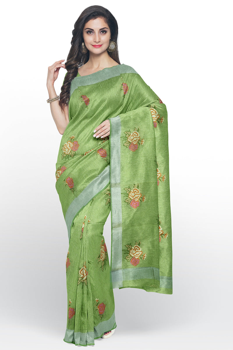 Linen Saree mild green with all over floral embroidery and silver zari border
