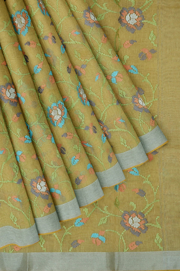 Linen Saree creamy yellow with floral computerized embroidery and silver zari border