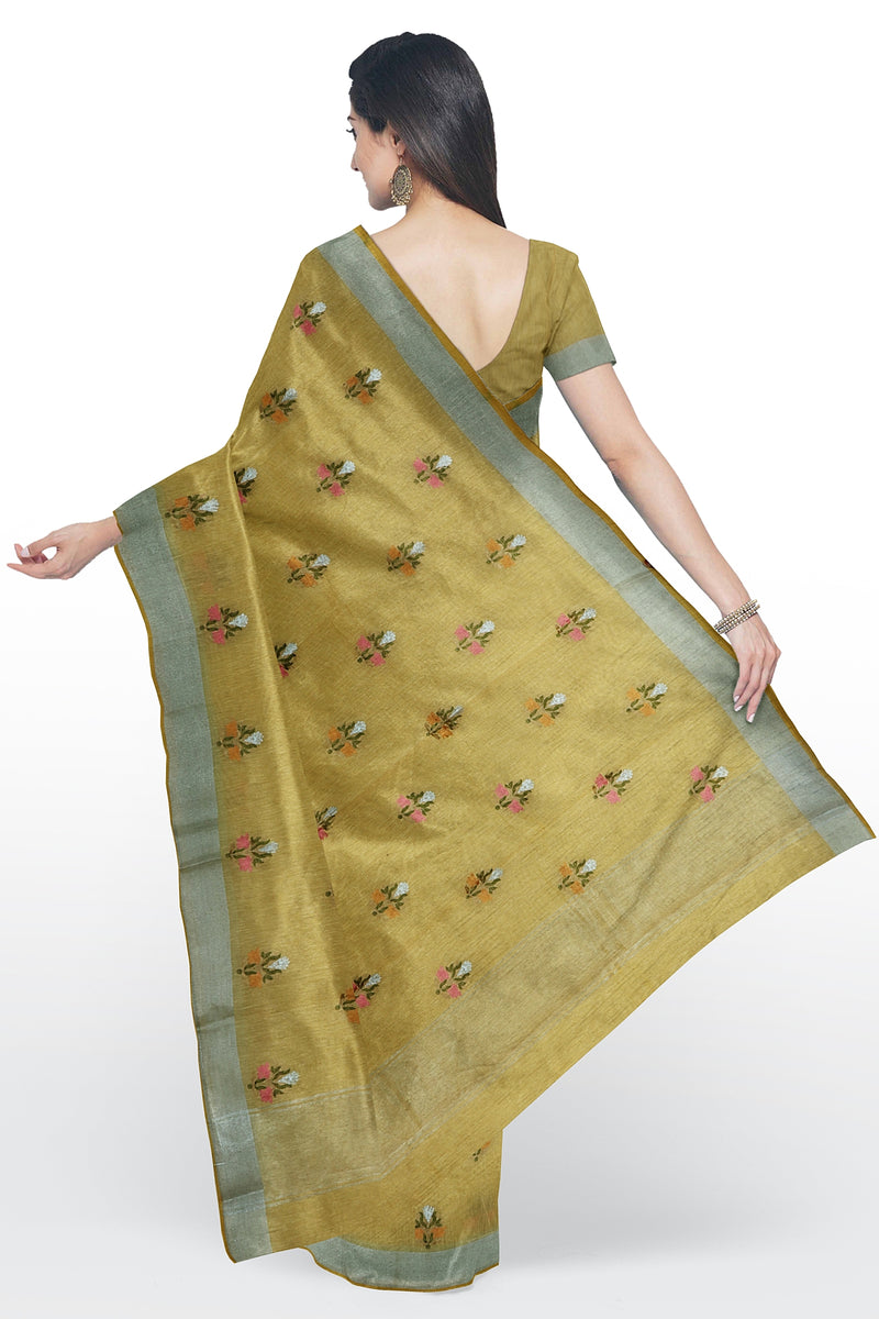 Linen Saree yellow with all over floral embroidery and silver zari border