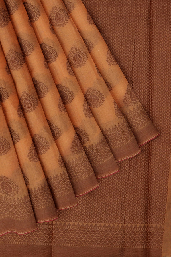 Chanderi cotton silk saree orange and pink with thread woven buttas and border