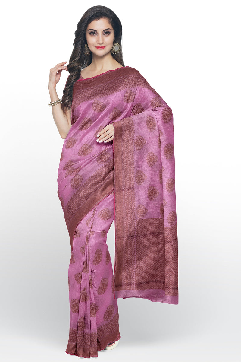 Chanderi cotton silk saree pink with thread woven buttas and border