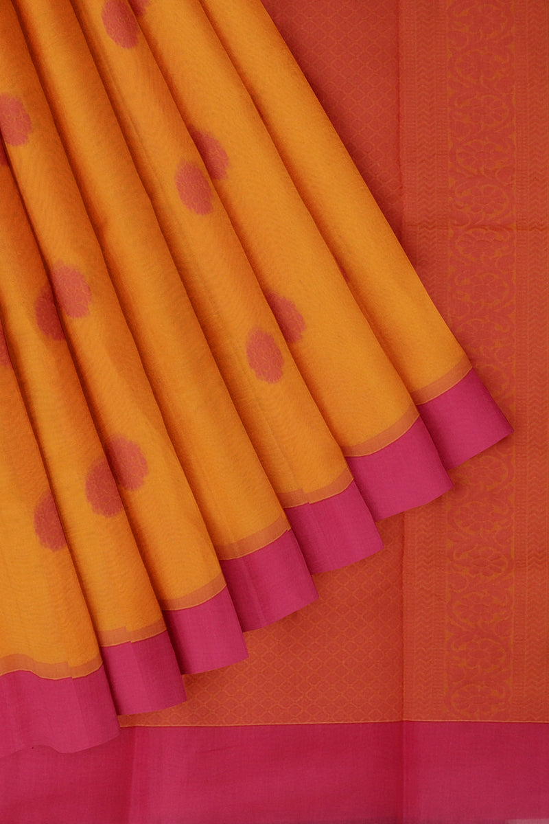 Cotton Silk Sarees yellowish orange and pink with overall thread buttas and plain border