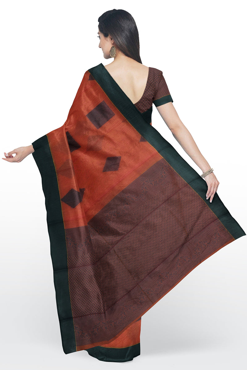 Cotton Silk Sarees peach and grey with geometric pattern thread buttas and plain border