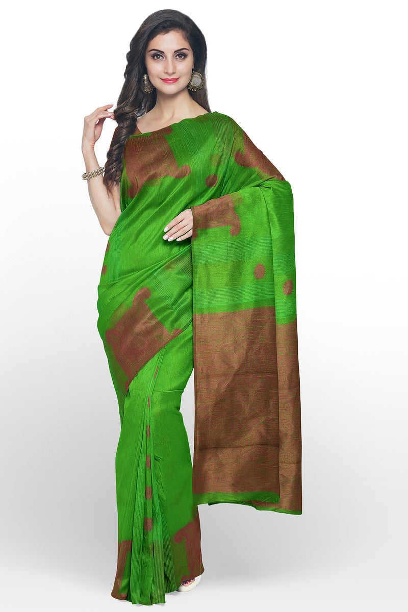 Cotton Silk Sarees green and pink with geometric pattern paisley thread buttas without border