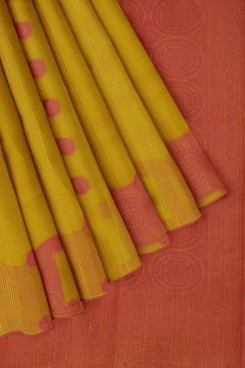 Cotton Silk Sarees yellow and pink with geometric pattern paisley thread buttas without border