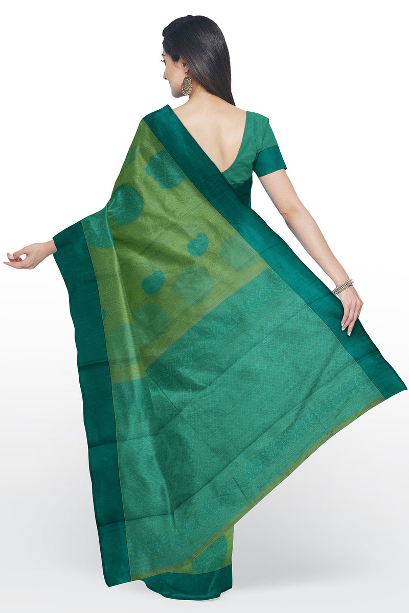 Cotton Silk Sarees creamy green and teal blue with tree thread buttas and plain border