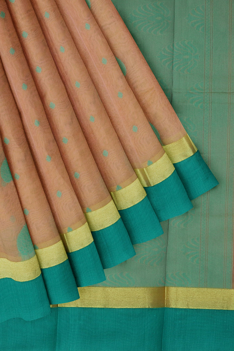 Cotton Silk Sarees peach shade and teal blue with peacock thread buttas and golden zari border