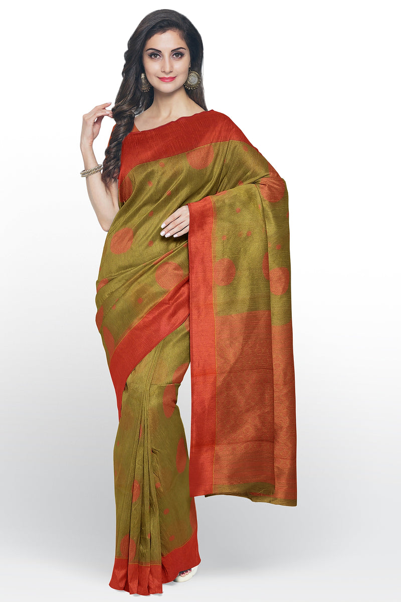 Cotton Silk Sarees hazelnut and peachesh pink with peacock thread buttas and plain border