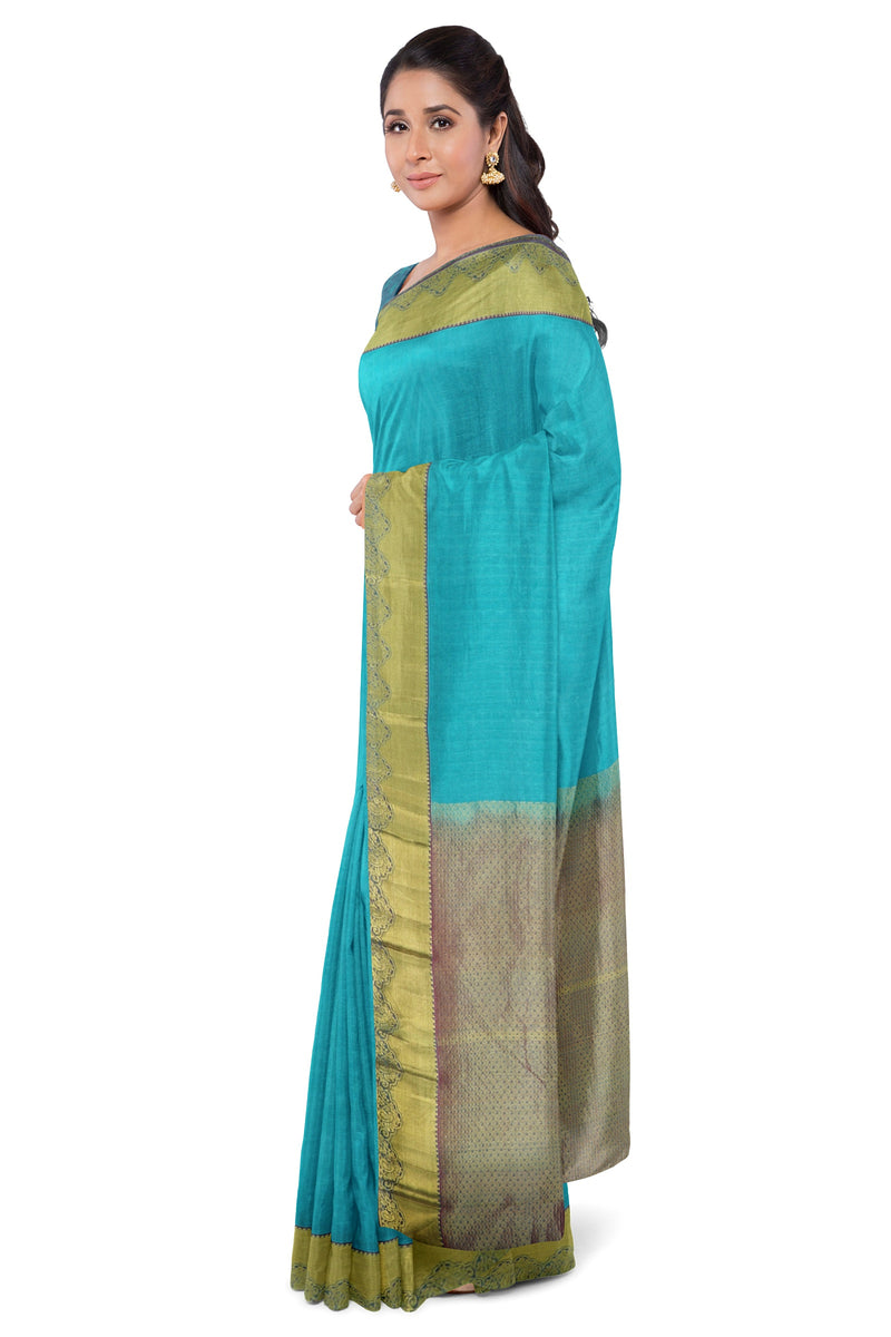 Pure kanjivaram Silk Saree teal and violet with self emboss and getti zari border