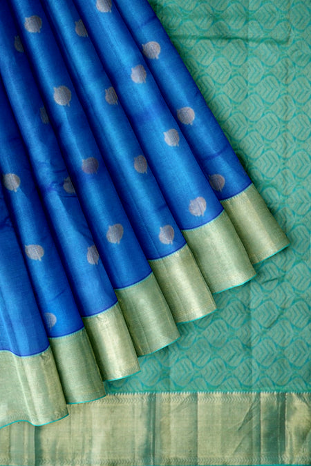 Pure Kanjivaram silk saree peacock blue and green with golden coin buttas abd getti zari border
