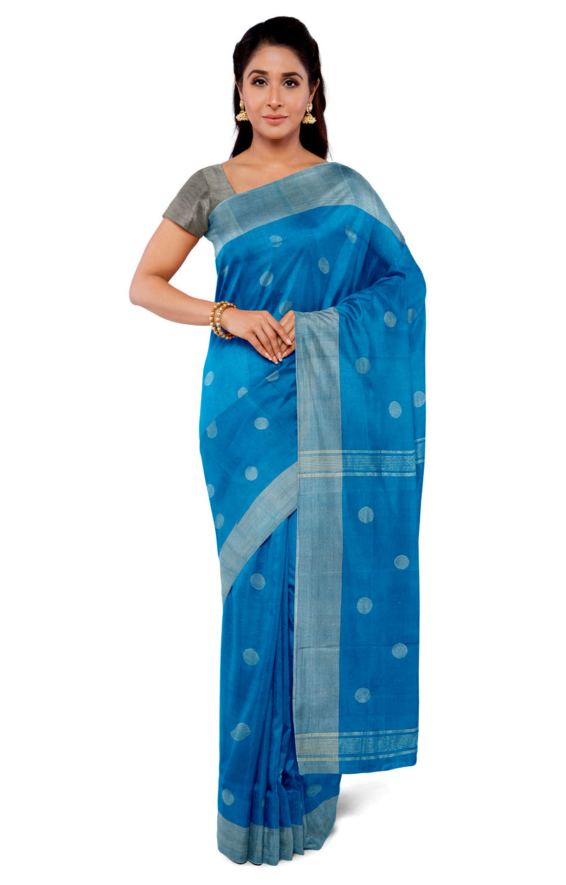 uppada saree dark sky blue with silver coin buttas and silver blouse for Rs.Rs. 5190.00 | Silk Sarees by Prashanti Sarees