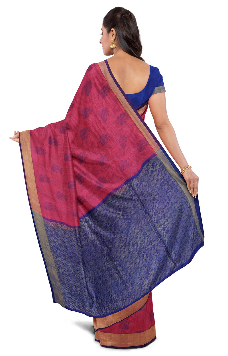 Light weight threadwork silk cotton saree dual pink and blue with mango designs