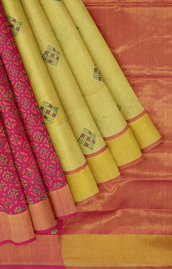 Silk cotton partly pallu saree golden yellow and pink with block print designs for Rs.Rs. 3530.00 | Silk Cotton Sarees by Prashanti Sarees