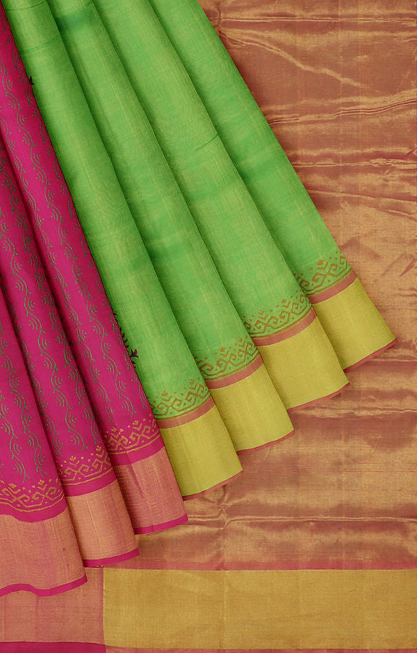 Silk cotton partly pallu saree parrot green and pink with peacock block prints