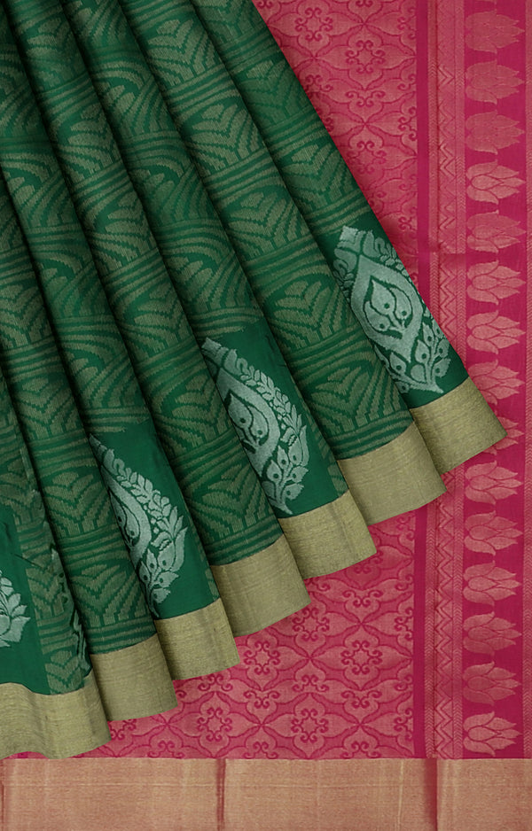 Soft silk saree Bottle green and pink with gold and silver zari buttas