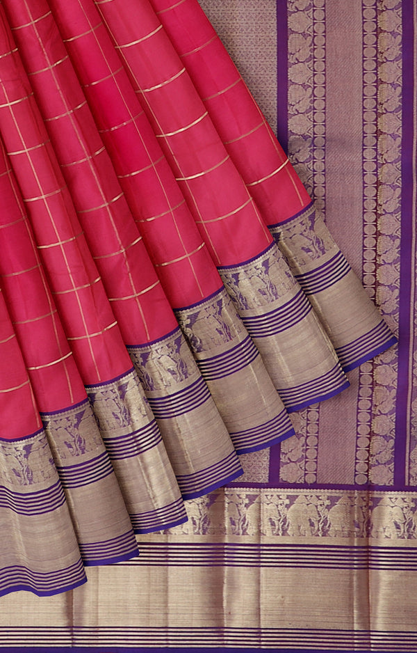 Soft silk saree pink with kanji elephant border overall checked lines