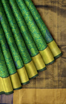 Hand block printed silk cotton saree green and blue with floral pattern and big kaddi zari