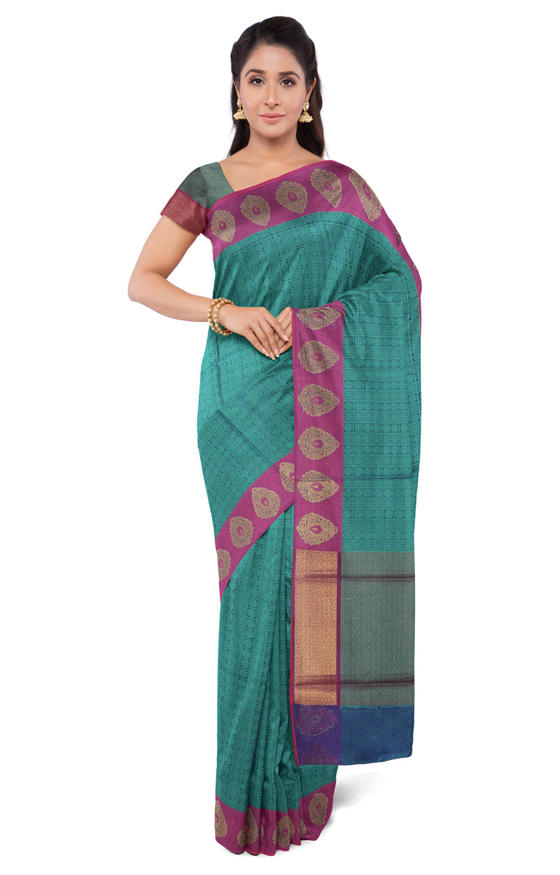 Semi Banaras kora saree peacock green and blue with pink butta style border