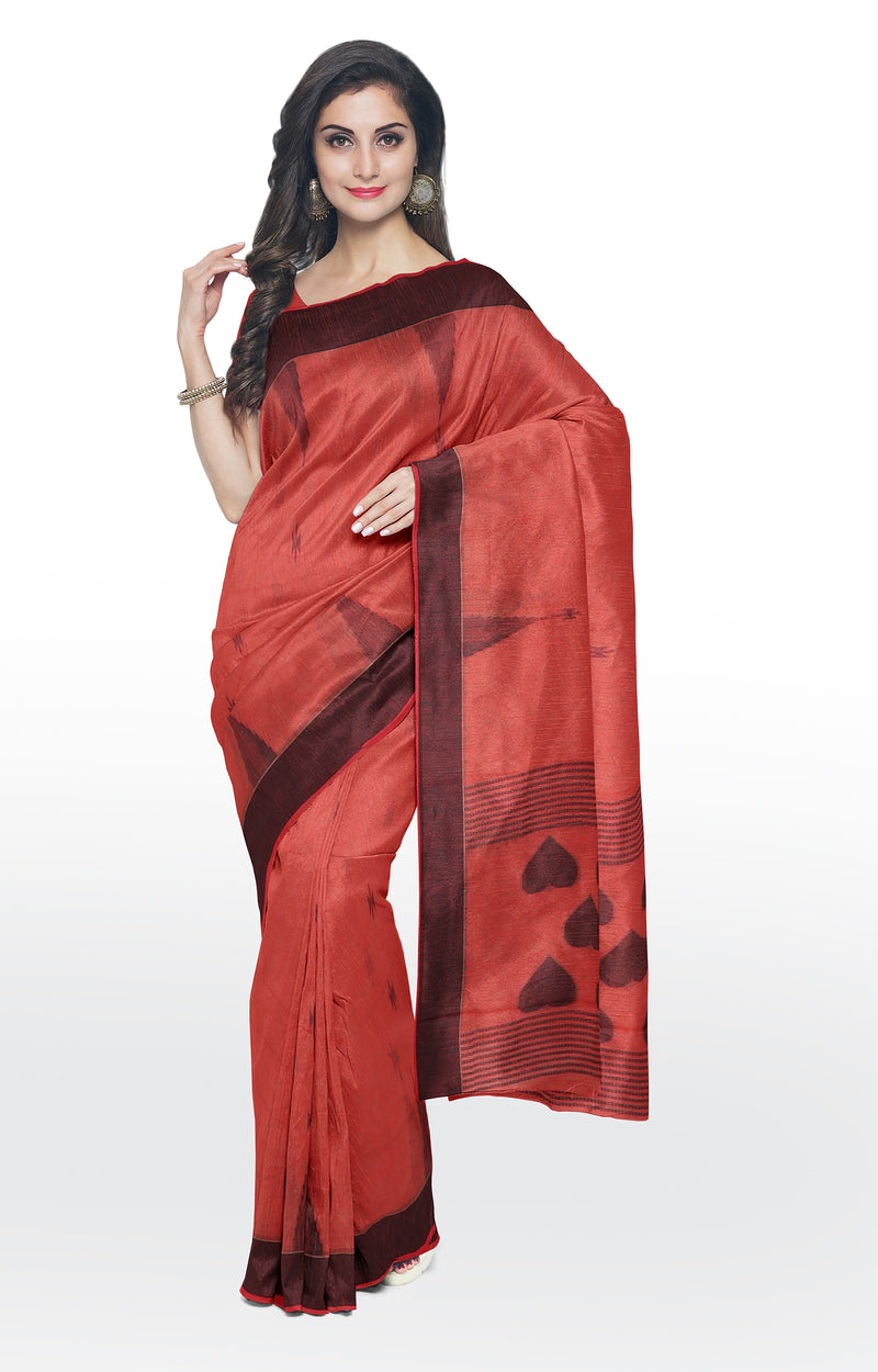 Linen cotton silk saree peach with black thread work buttas