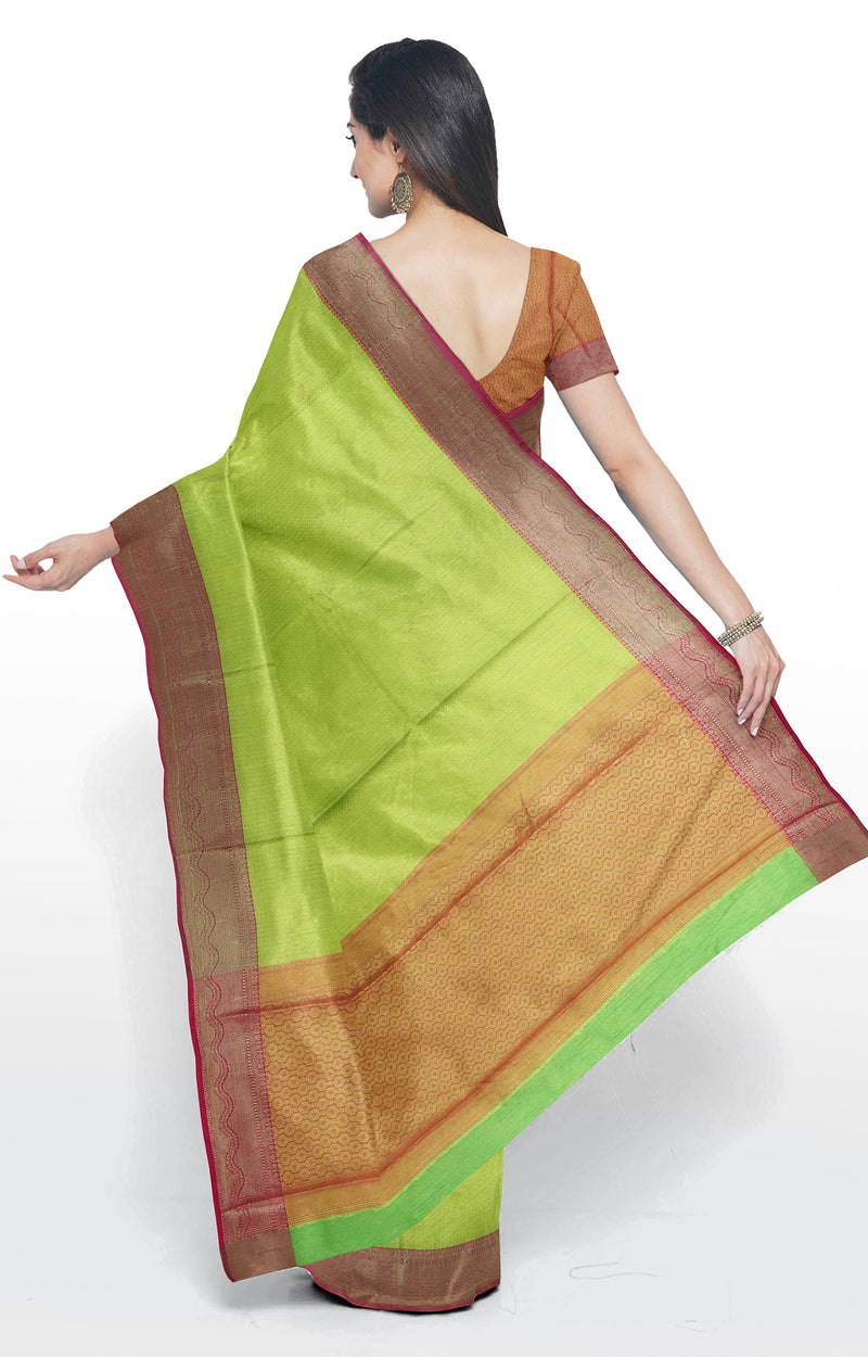 Semi Banarasi kora lime green with pink kanji style border