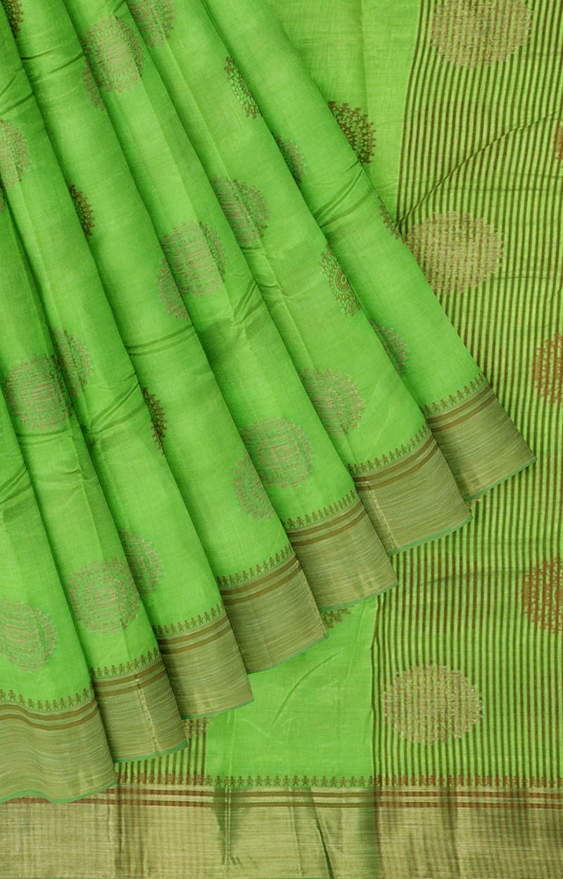 Semi Raw silk saree fluorescent green with bavanji border and warli zari buttas