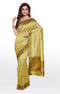 Semi Raw silk saree cream with bavanji border and all over thread butta