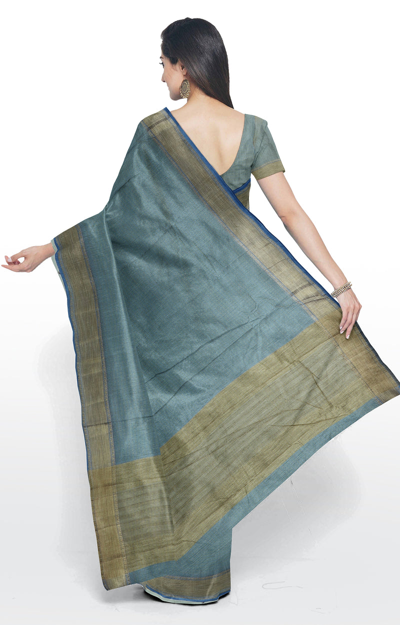 Semi Raw silk saree grey with bavanji border and all over checked buttas