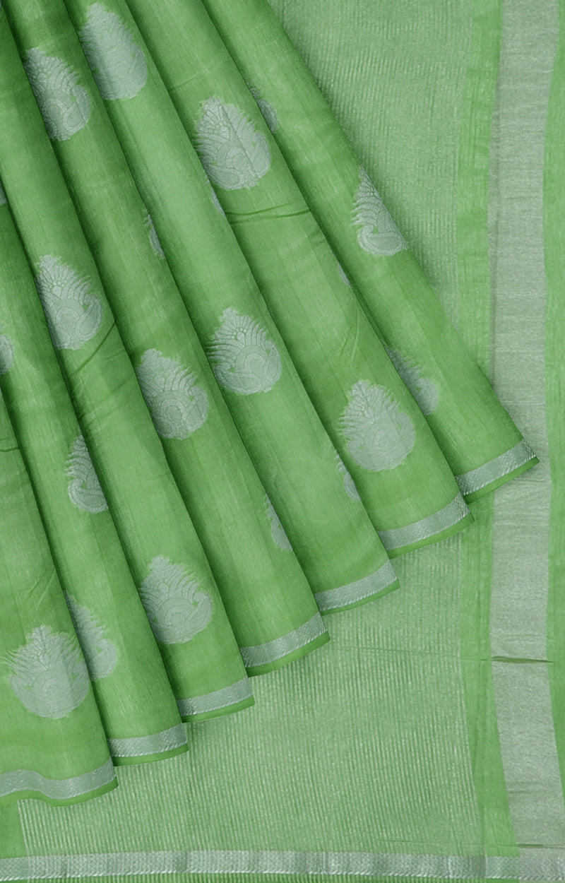 Semi raw silk mild green with silver buttas