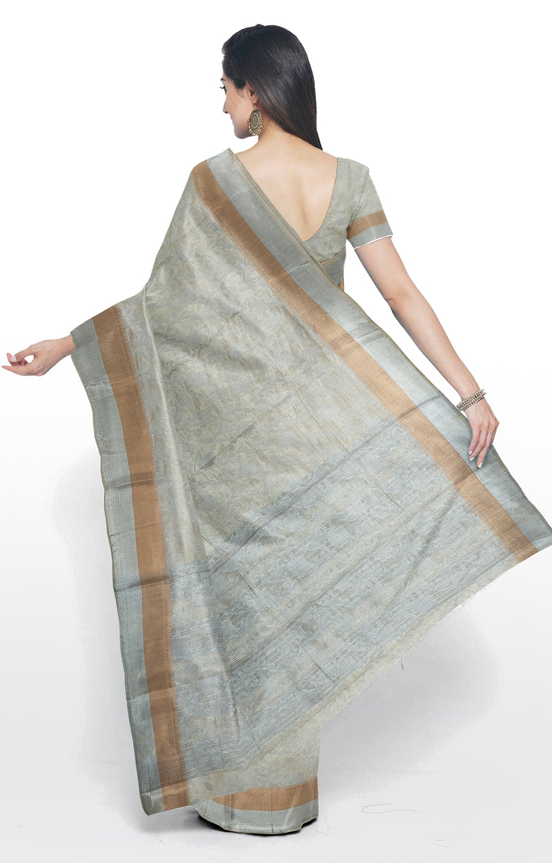 Semi raw silk saree off white with floral silver zari pattern