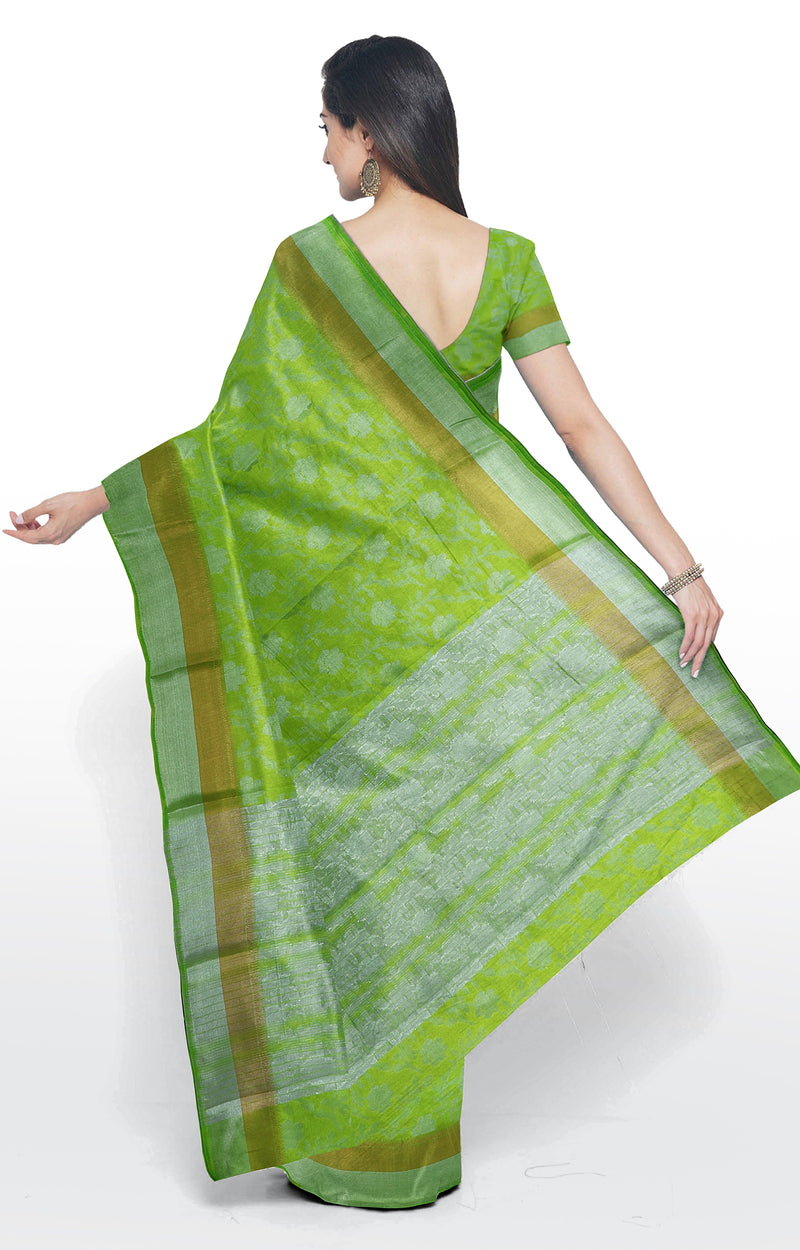 Semi raw silk saree fluorecent green with floral silver zari pattern