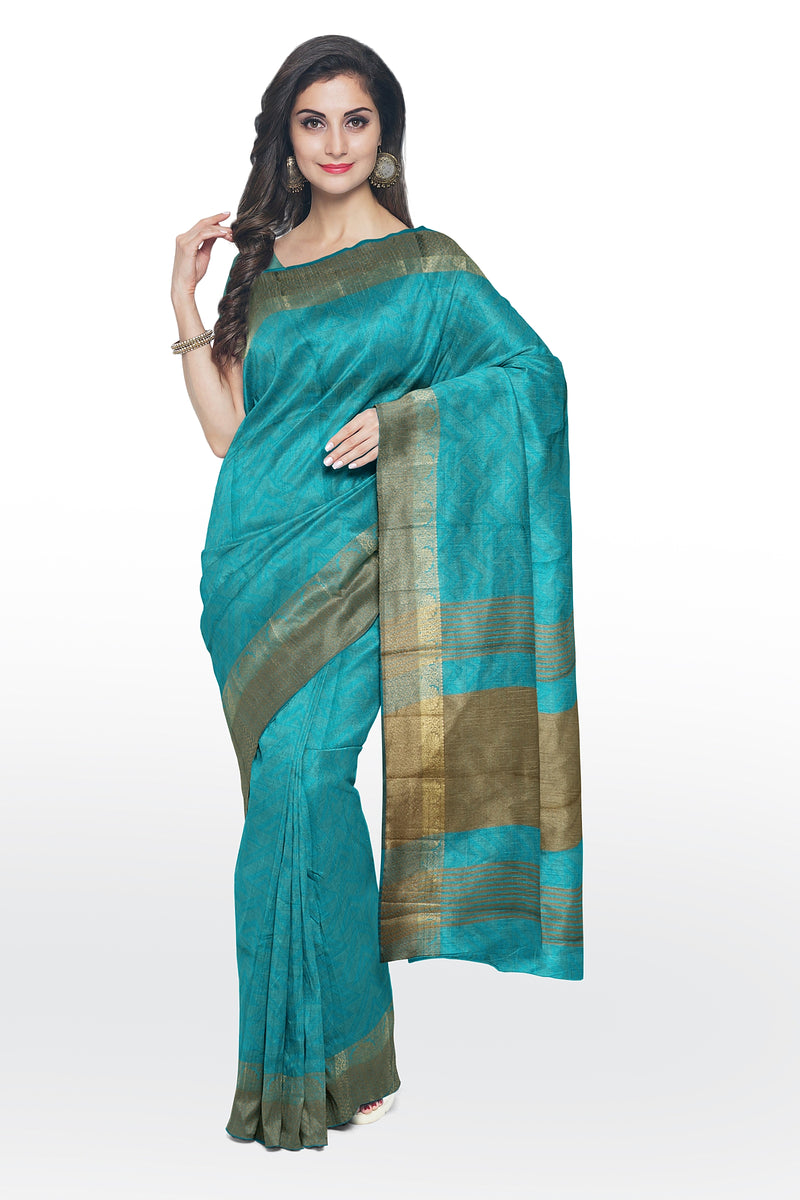 Semi raw silk saree teal blue with self emboss geometric pattern and zari border