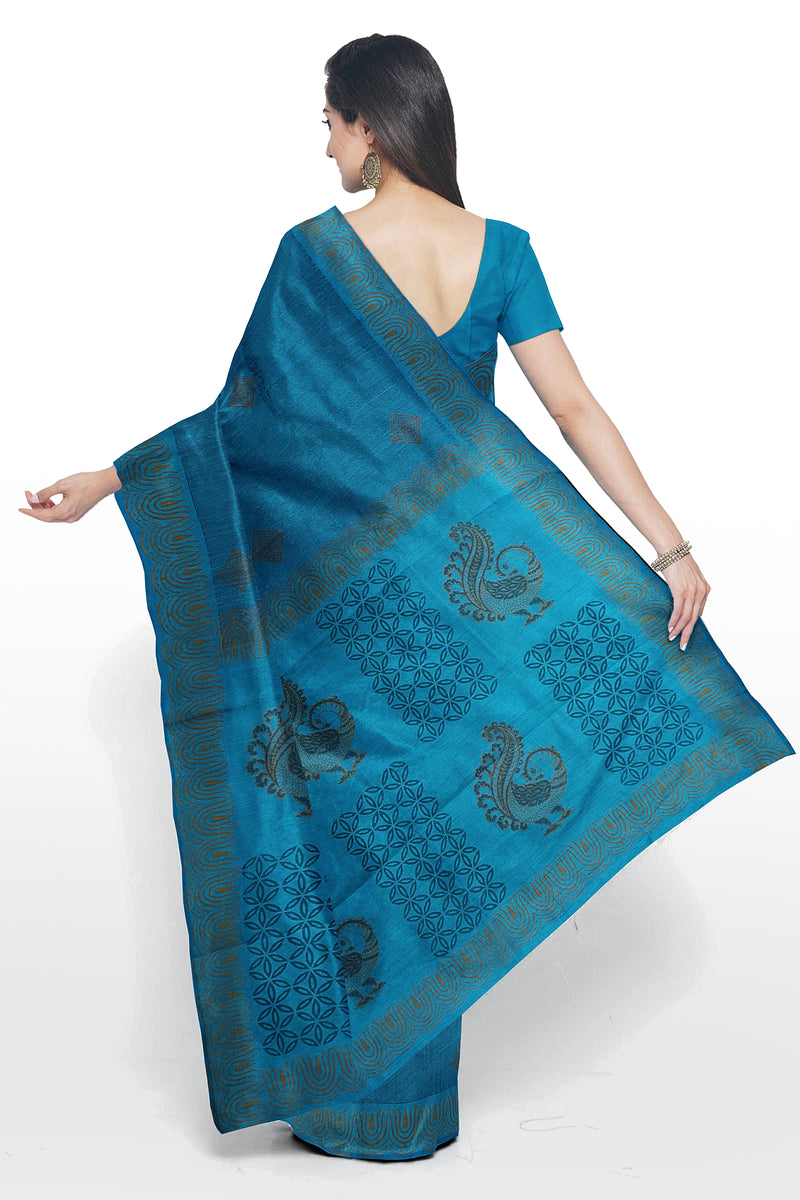 Silk cotton saree coppor sulphate blue with peacock block prints