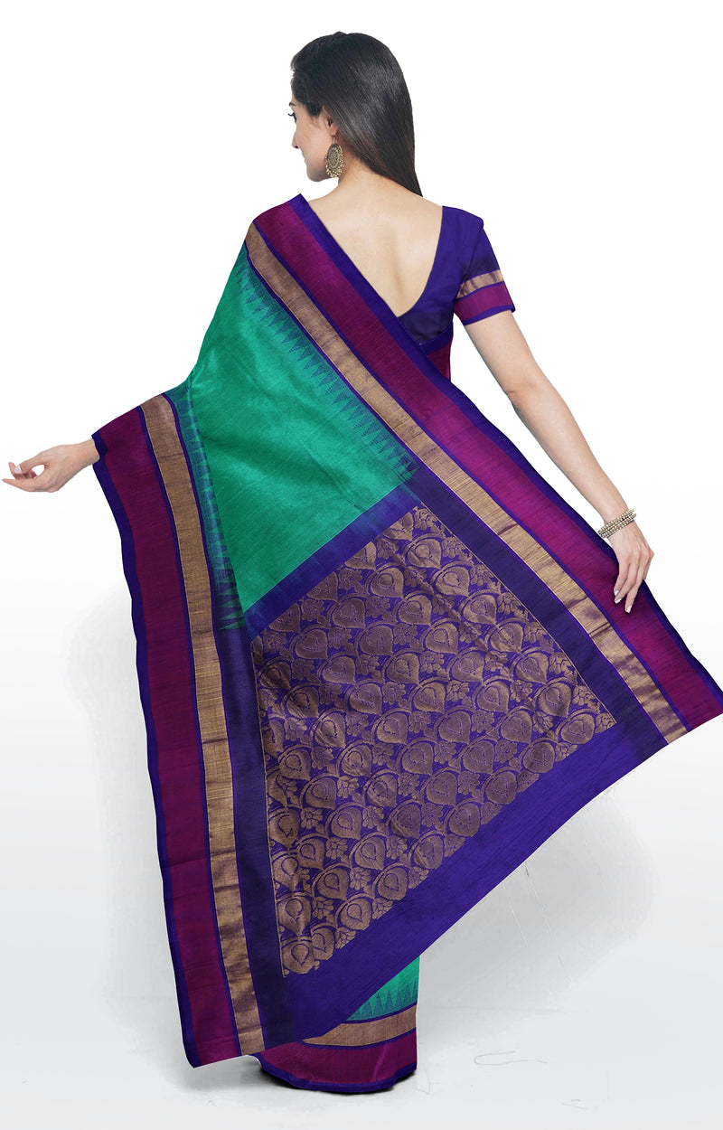Silk cotton saree teal green with silk border and thread work temple border