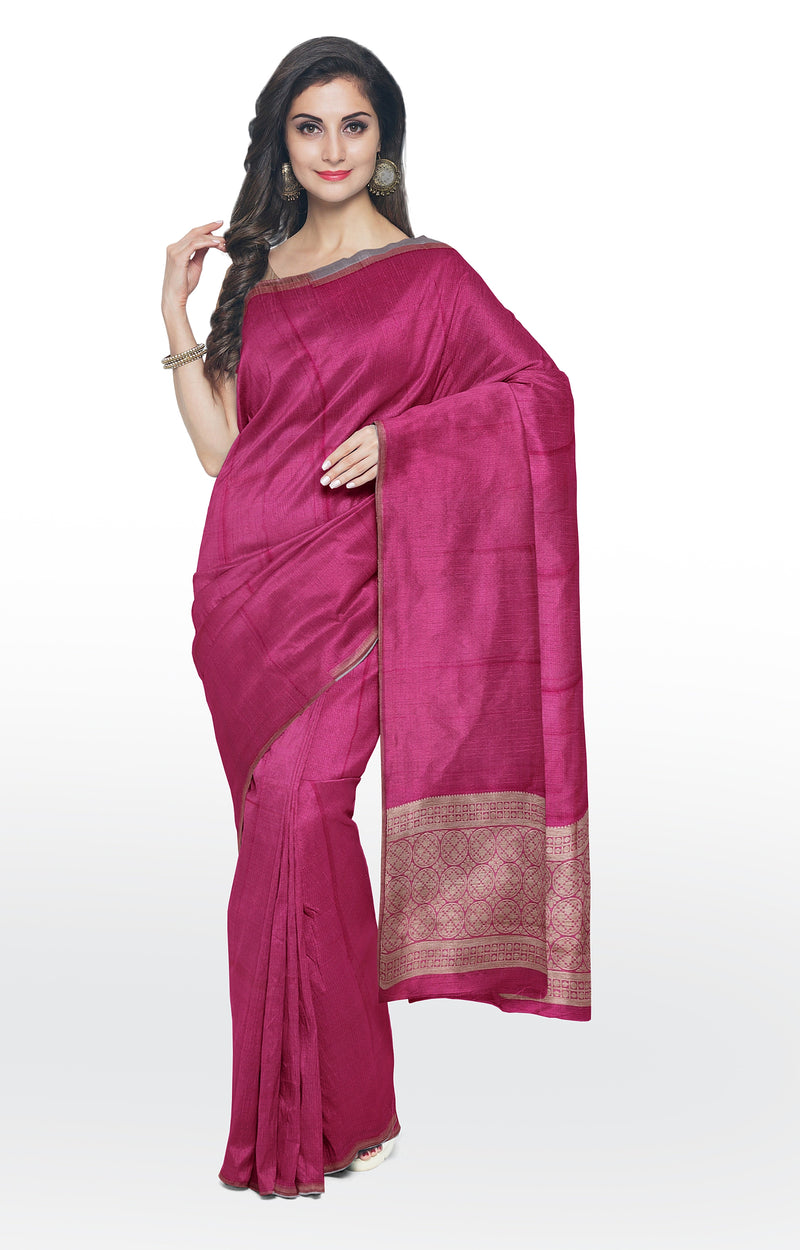 Semi raw silk saree dark pink with self emboss and simple piping zari border