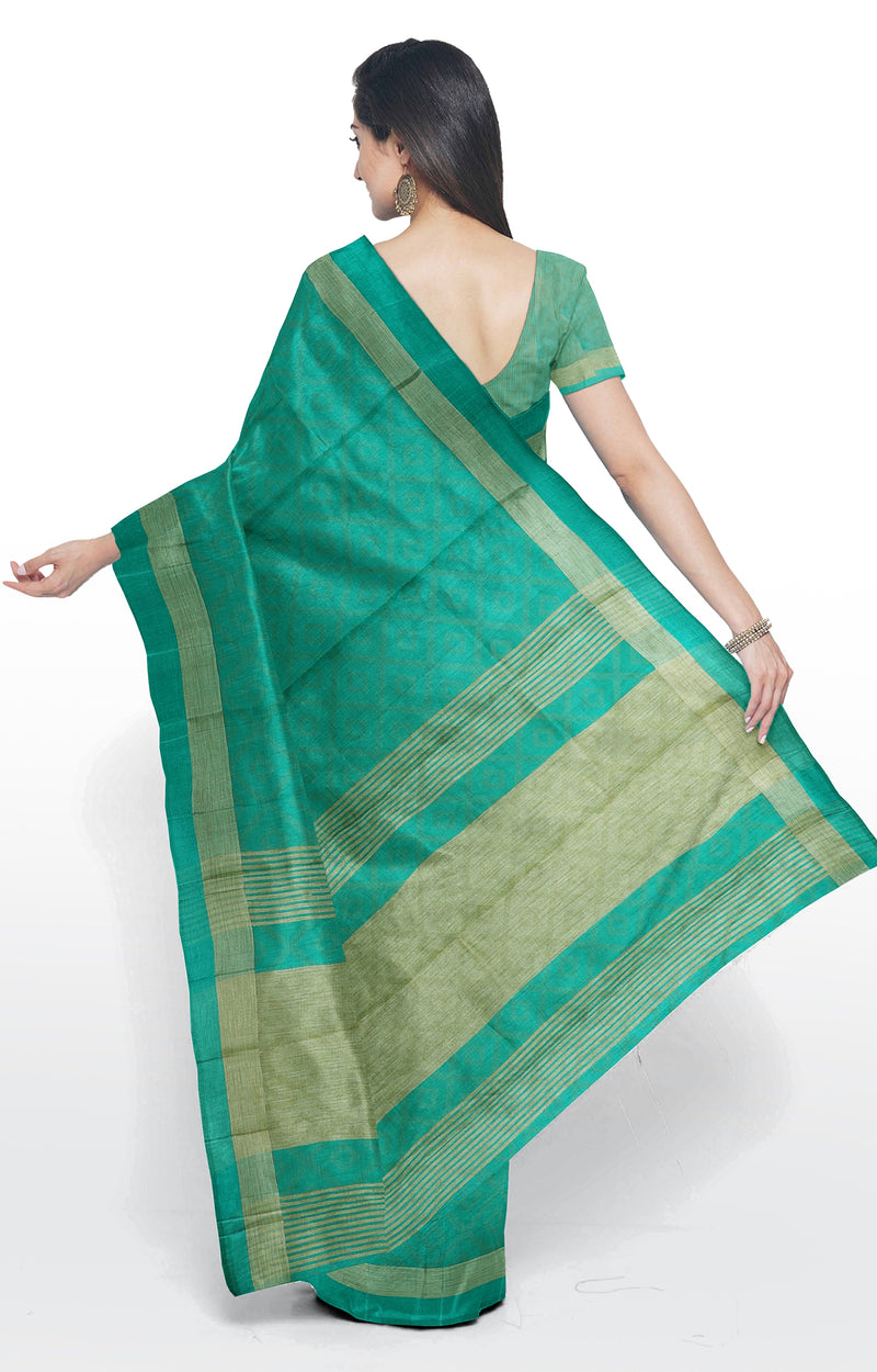 Semi raw silk saree green with geometric emboss pattern