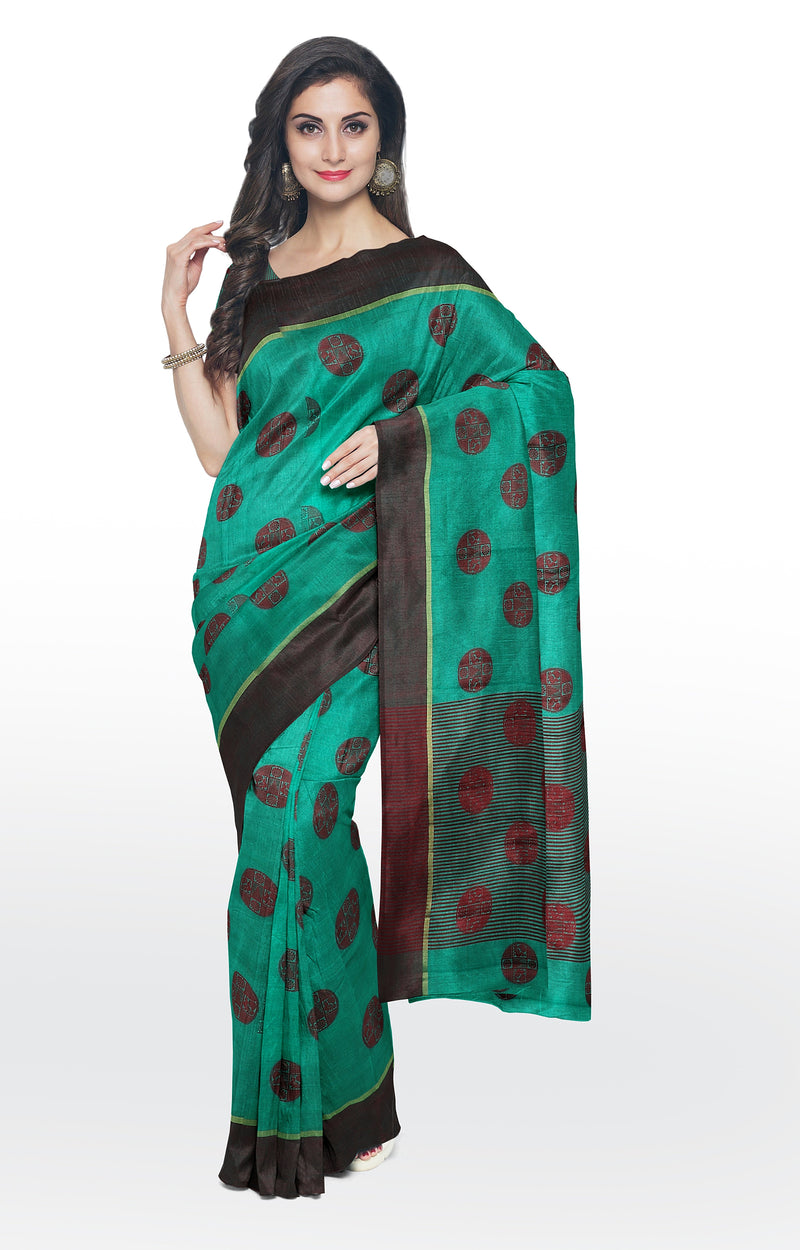 Semi raw silk saree green with thread buttas and simple border