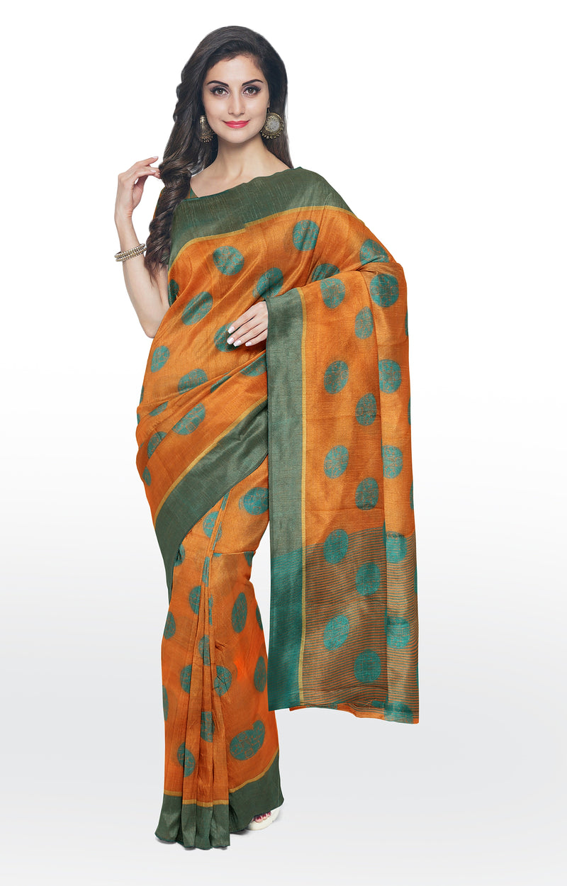 Semi raw silk saree orange with thread buttas and simple border