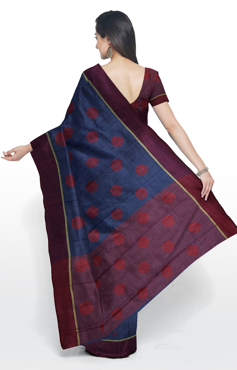 Semi raw silk saree navy blue with thread buttas and simple border