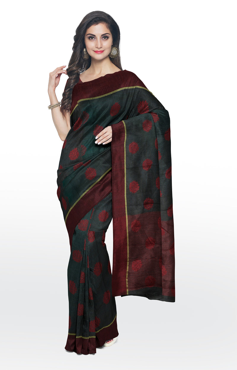 Semi raw silk saree black with thread buttas and simple border