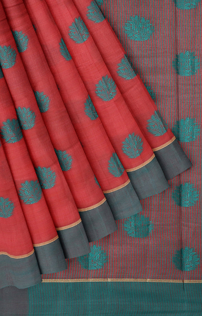 Semi raw silk saree red with thread buttas and simple border
