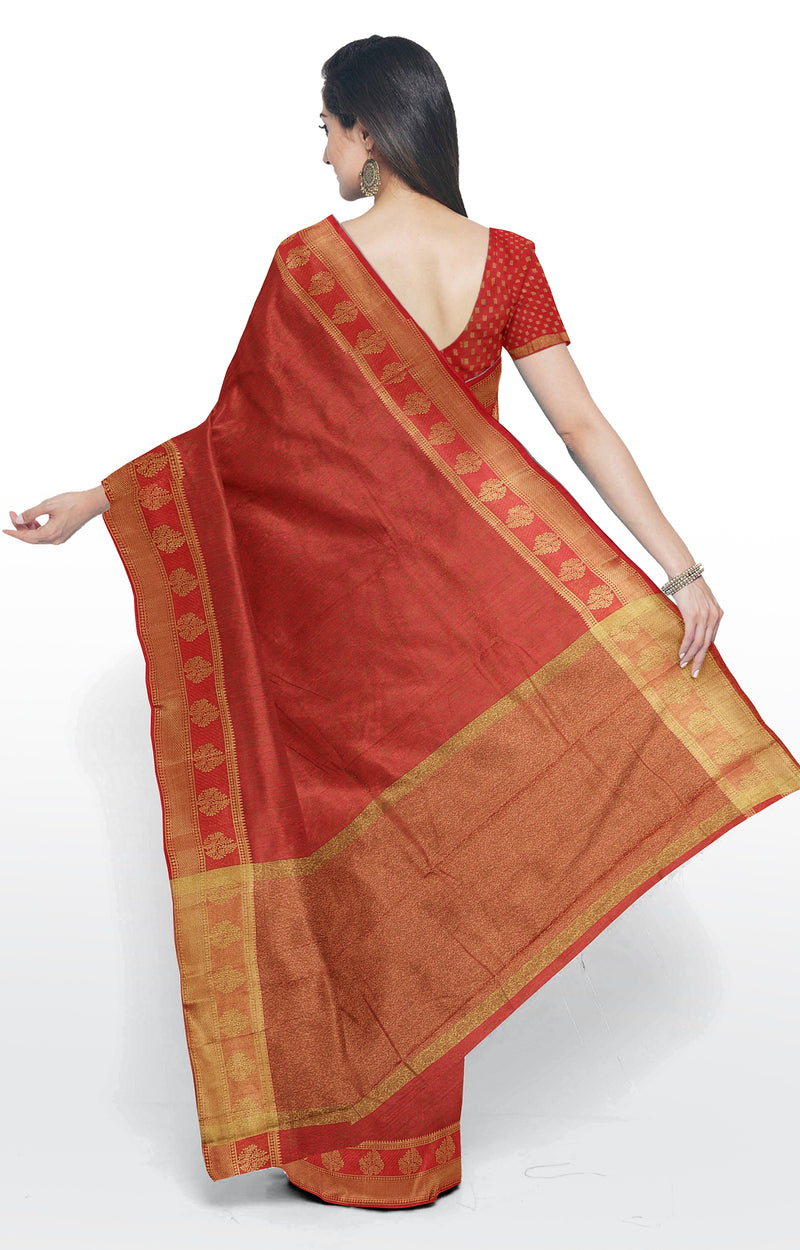 Semi raw silk saree red with kanji style border and self emboss