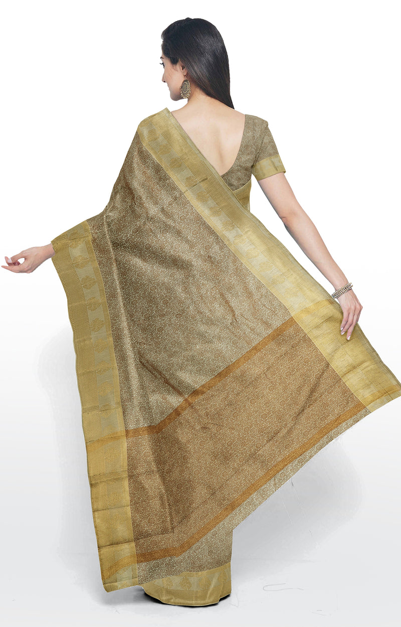 Semi raw silk saree off white with kanji style border and self emboss for Rs.Rs. 1190.00 | Semi Raw Silk Sarees by Prashanti Sarees