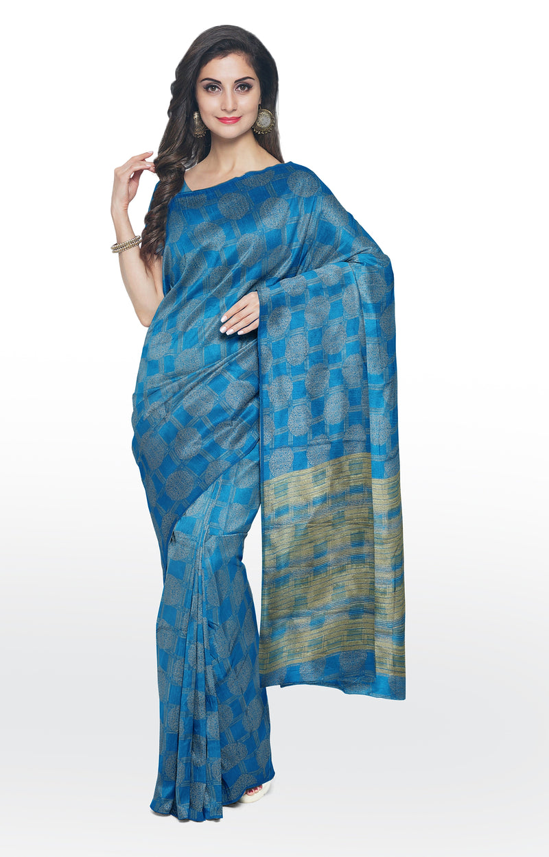 Semi raw silk saree copper sulphate blue with banaras style all over zari pattern