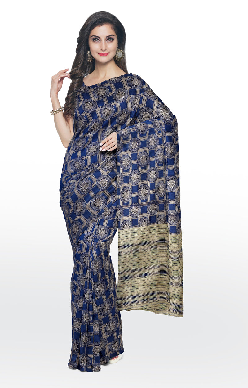 Semi raw silk saree navy blue with banaras style all over zari pattern