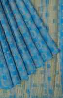 Semi raw silk saree copper sulphate blue with banaras style all over zari pattern for Rs.Rs. 1170.00 | Semi Raw Silk Sarees by Prashanti Sarees